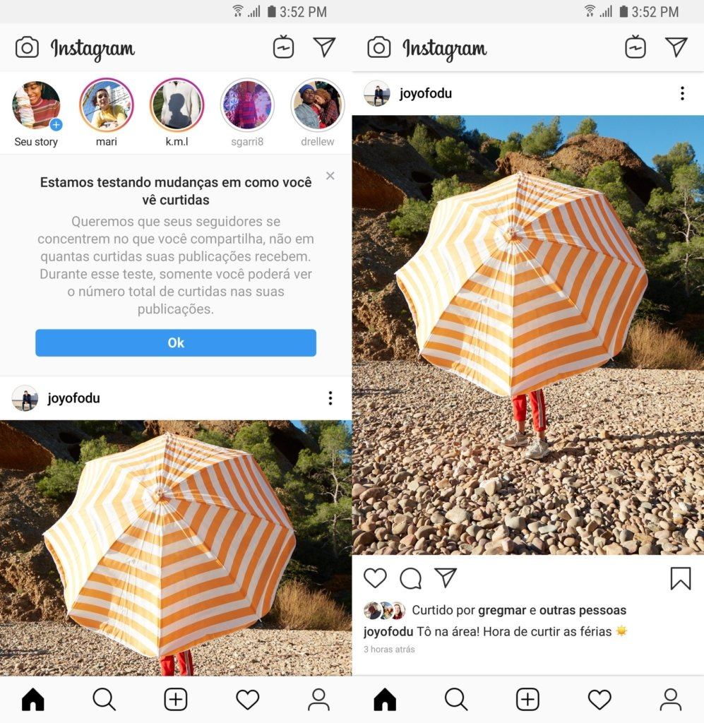 Instagram remove número curtidas no feed.