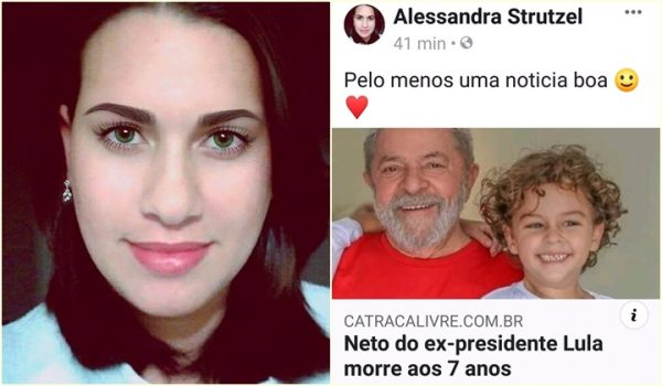 blogueira comemorou a morte do neto de Lula